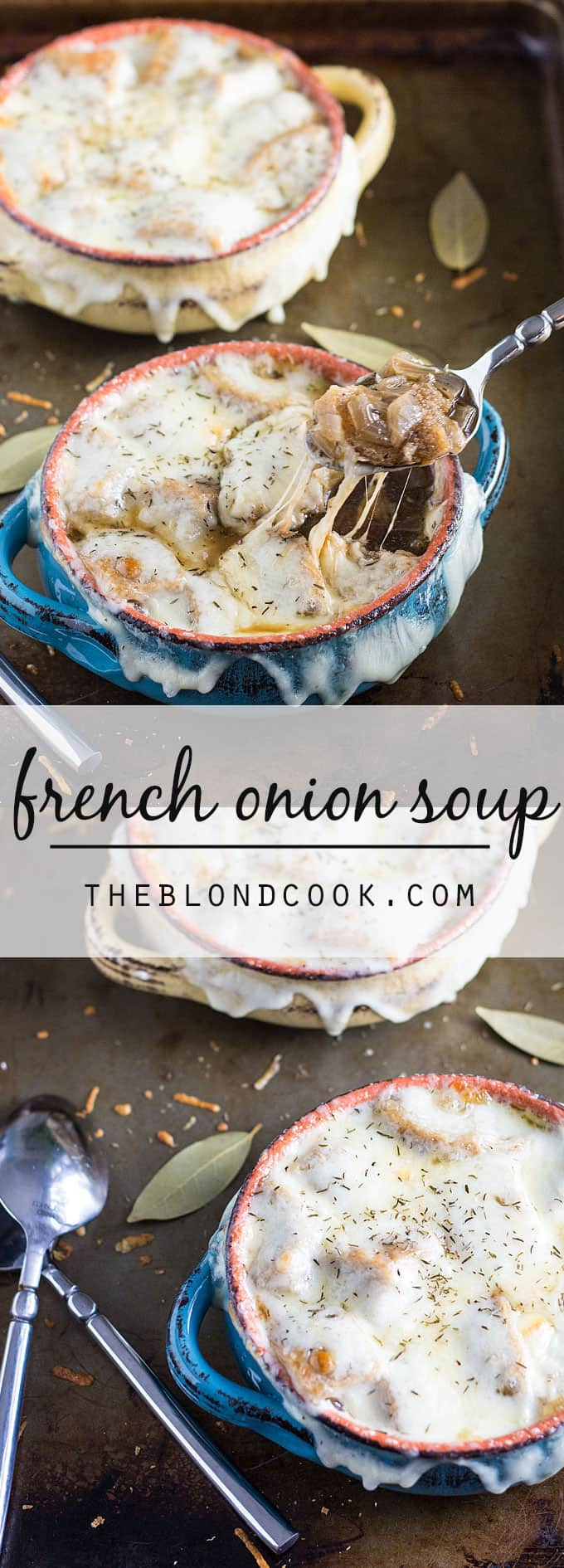 French Onion Soup - The ultimate comfort soup seasoned with thyme and bay leaf and topped with french bread, provolone and Parmesan cheeses.