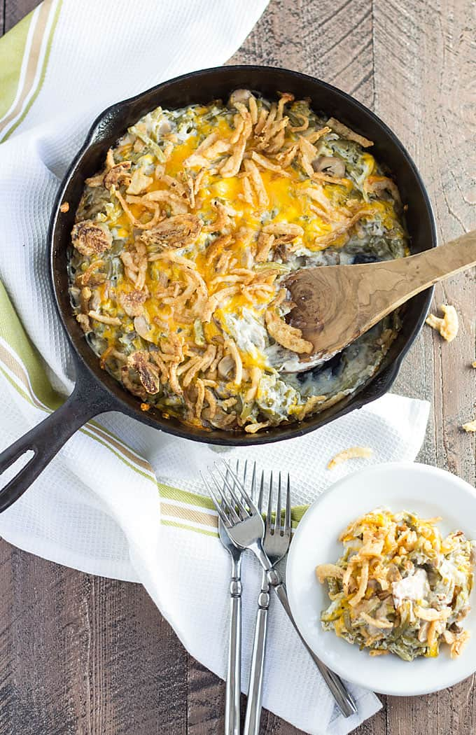 Green Bean Casserole -- creamy, cheesy, crunchy and full of green beans, this green bean casserole is so easy to make... and doesn't use canned soup!