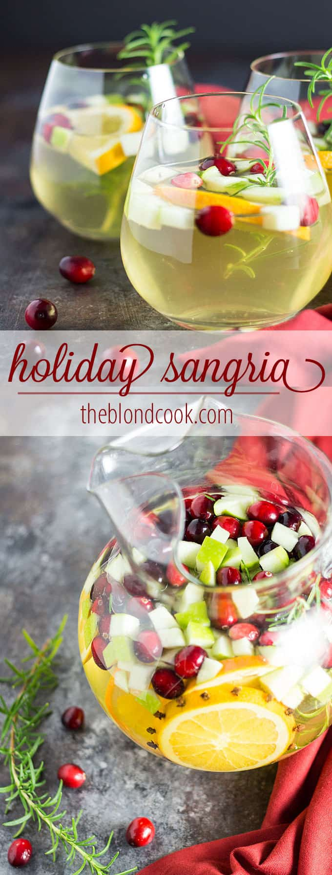Holiday Sangria - A beautiful, festive sangria with pinot grigio, fruits, herbs and spices.