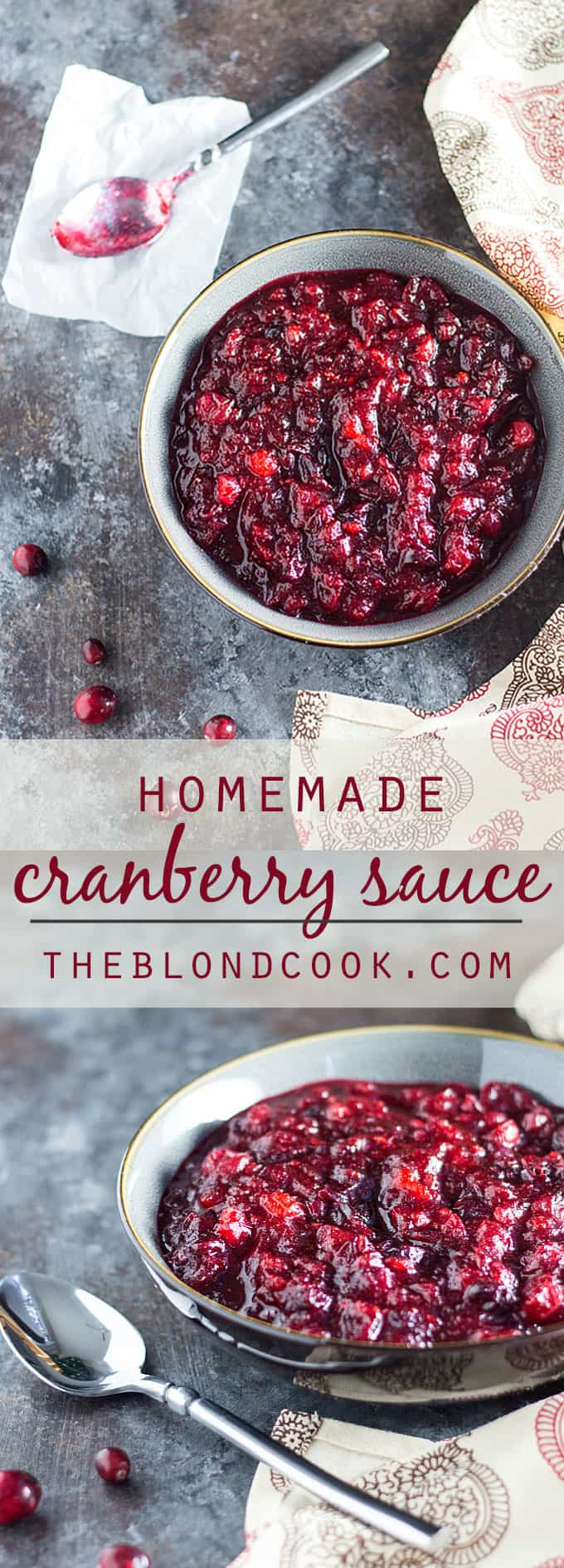 Homemade Cranberry Sauce - This homemade cranberry sauce recipe is so easy -- No need to ever open a can again!