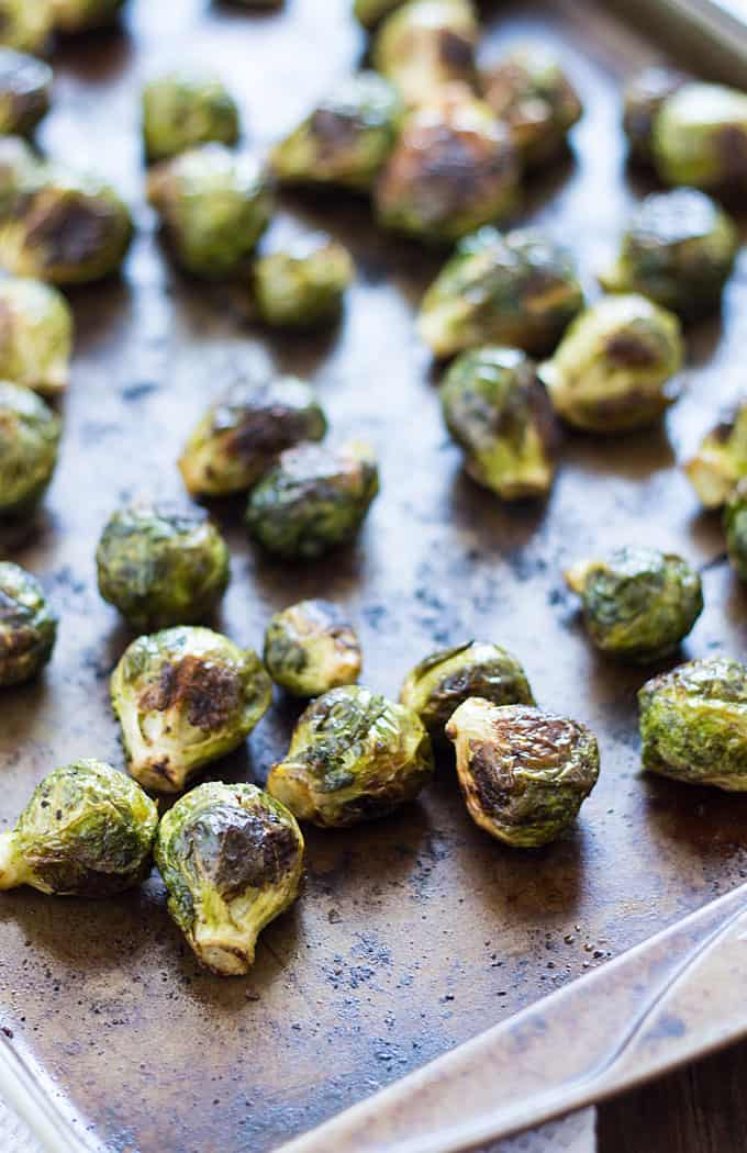 Roasted Brussels Sprouts - Simply delicious brussels sprouts roasted in olive oil and seasonings.