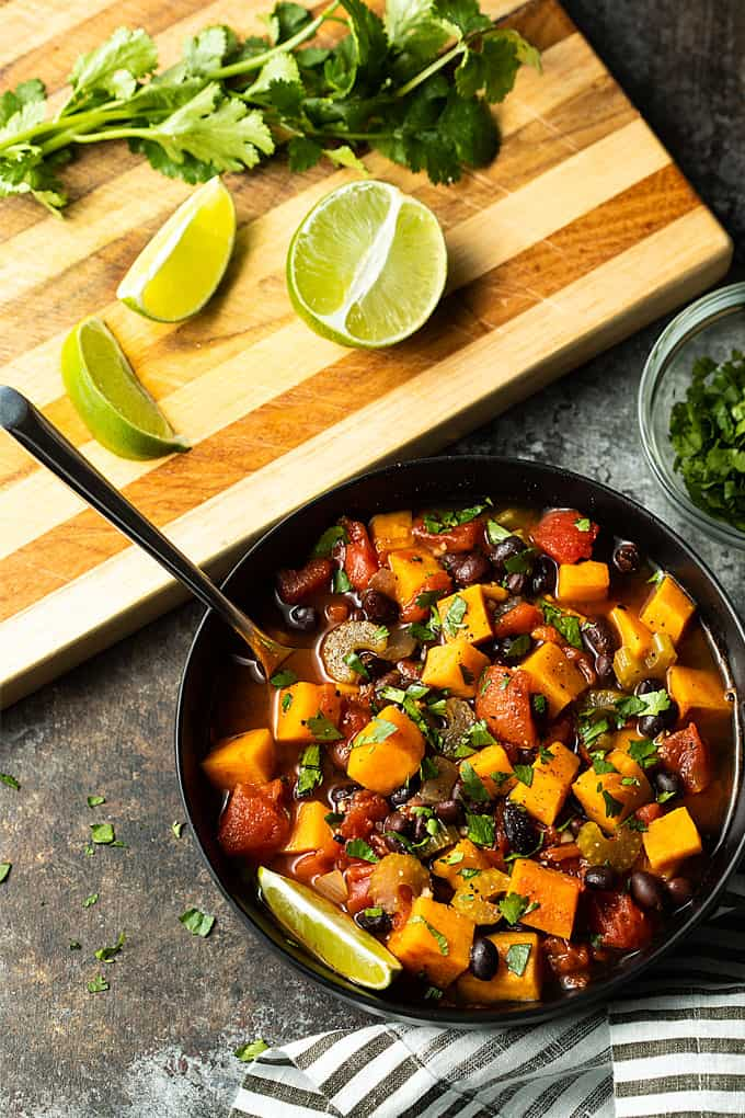 Sweet Potato and Black Bean Chili in a black bowl