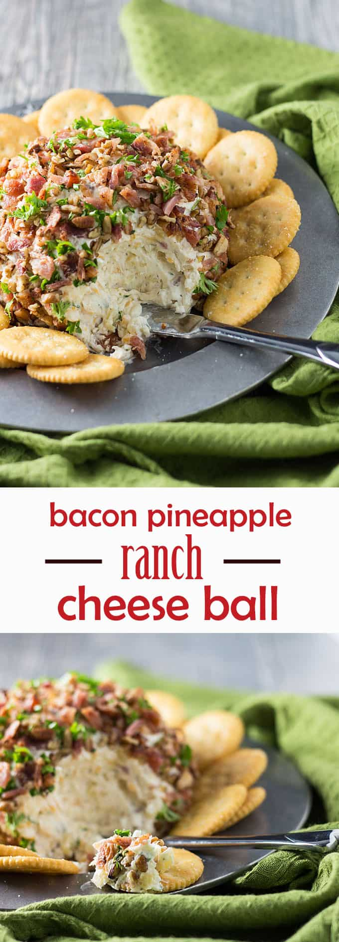 Bacon Pineapple Ranch Cheese Ball -- full of meaty bacon, sweet pineapple and spicy ranch flavors!