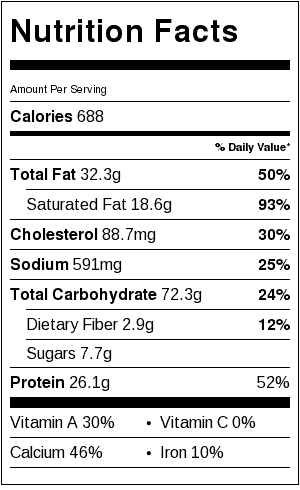 Baked Macaroni and Cheese Nutrition Facts