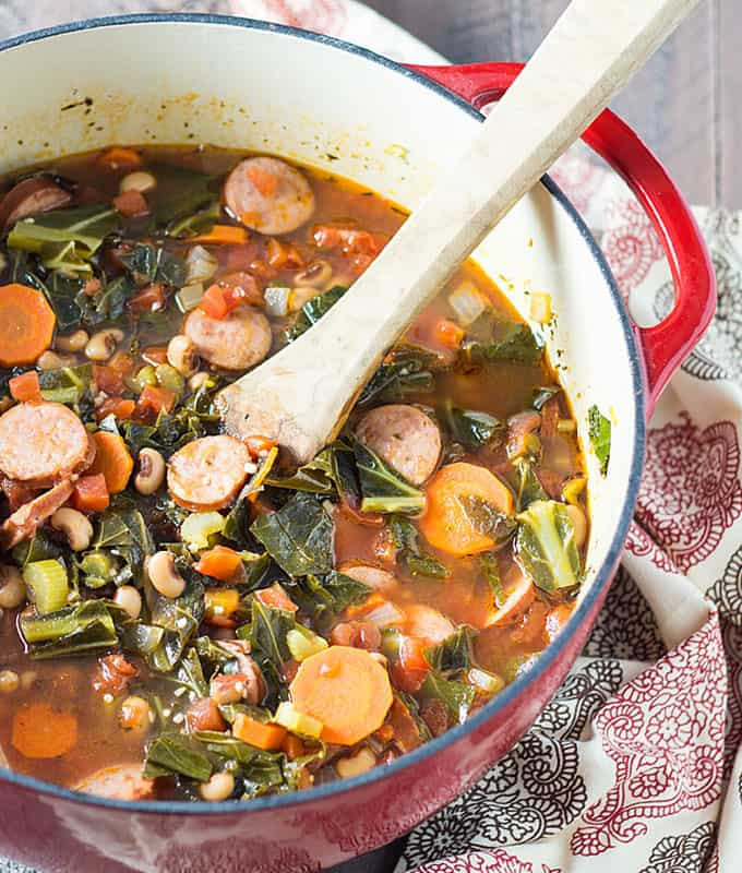 Black-Eyed Pea Soup with Collard Greens and Sausage -- an easy one pot meal for New Year's Day!
