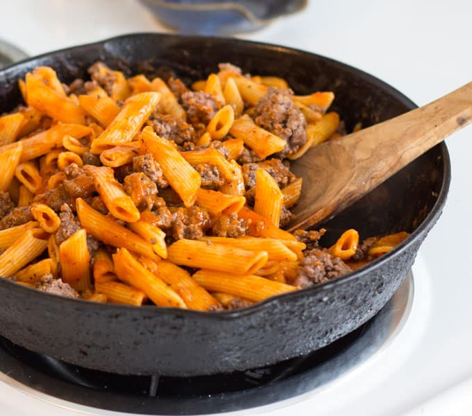 One Skillet Beef Marinara with Penne Pasta that comes together in 15 minutes with the help of Tyson Meal Kits!