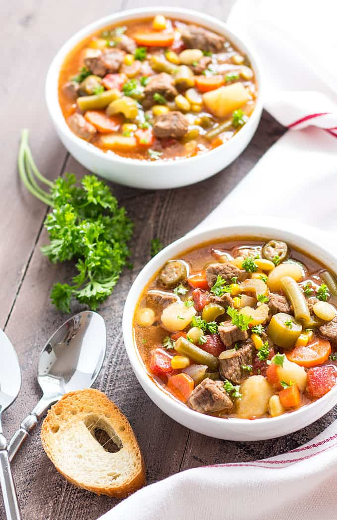 Homemade Vegetable Beef Soup full of beef and vegetables -- the ultimate cold weather comfort food!