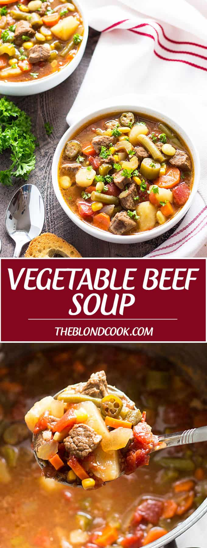 Homemade Vegetable Beef Soup -- A hearty soup full of beef and veggies!