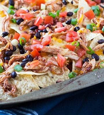 Barbecue Chicken Nachos -- Comes together in minutes using a pre-made rotisserie chicken!