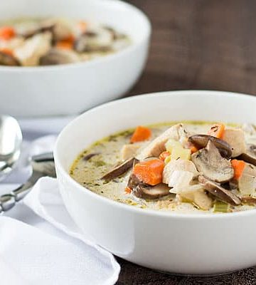 Creamy Chicken and Mushroom Soup -- A hearty soup full of mushrooms, chicken and vegetables!