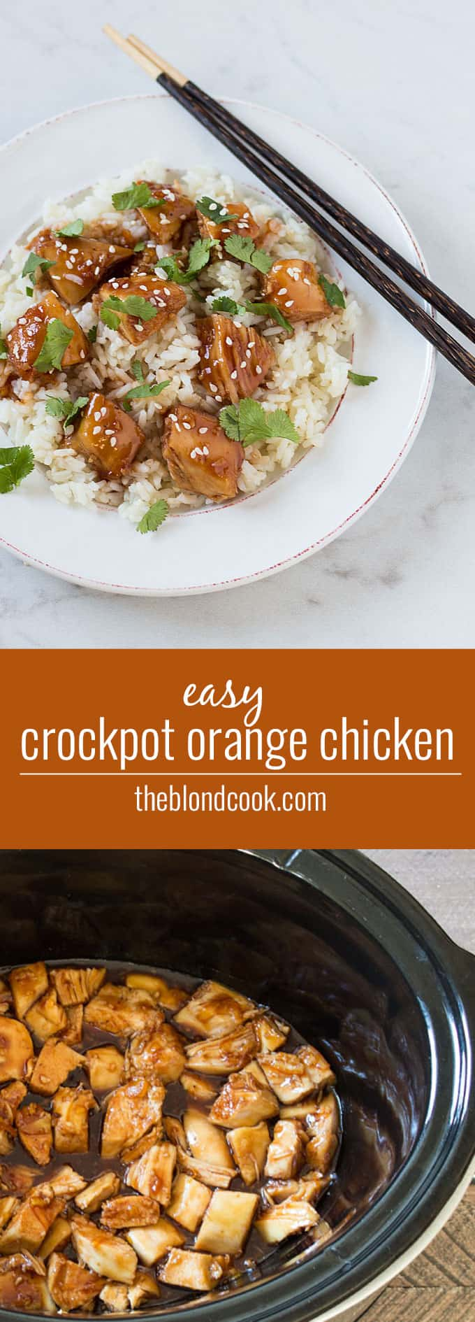 Easy Crockpot Orange Chicken -- Skip takeout and throw together a few ingredients for the most flavorful chicken!