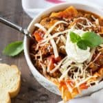 Lasagna Soup - All of the traditional lasagna ingredients in an easy and delicious soup!