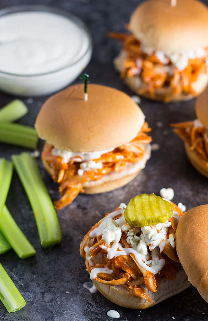 Shredded Buffalo Chicken Sliders -- Using a store-bought rotisserie chicken slashes time for the perfect game day sliders!