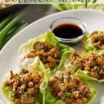 A white plate of chicken lettuce wraps with overlay text.