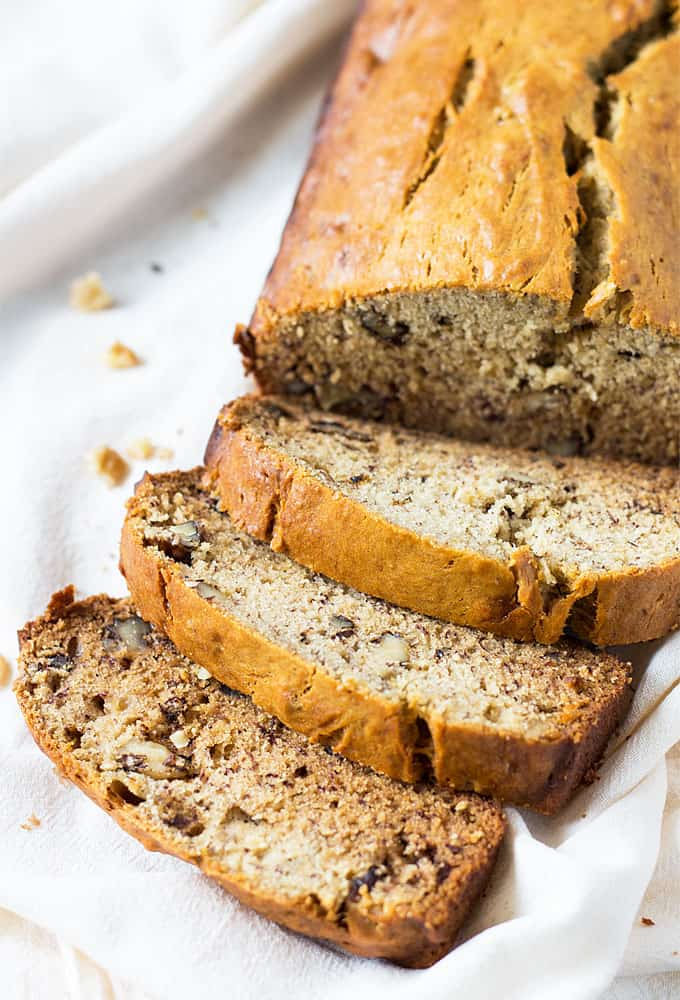 banananutbread 2 cups all-purpose flour, 1 1/2 teaspoons baking powder, 1/2 teaspoon baking soda, 1/2 teaspoon ground cinnamon, 1/4 teaspoon salt, 1/4 teaspoon ground nutmeg, 1/8 teaspoon ground ginger, 2 eggs, lightly beaten, 1 1/2 cups mashed bananas (4 to 5 medium.