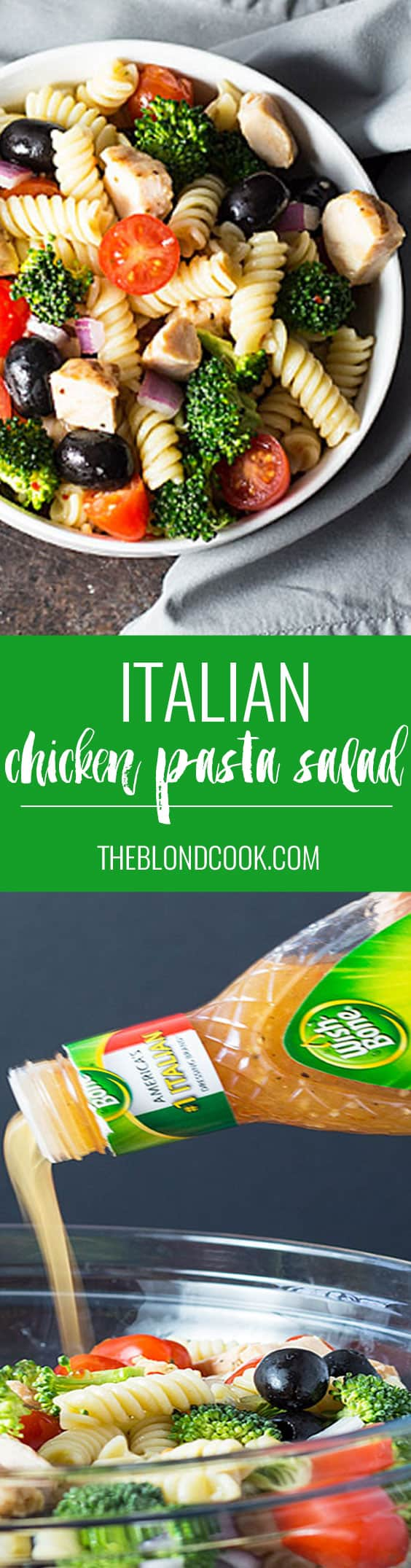 Italian Chicken Pasta Salad -- A hearty pasta salad packed with chicken, red onion, broccoli, tomatoes and black olives | theblondcook.com