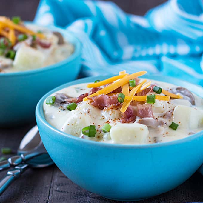 Loaded Baked Potato Soup - All of your favorite baked potato toppings come together in this hearty and comforting soup! theblondcook.com
