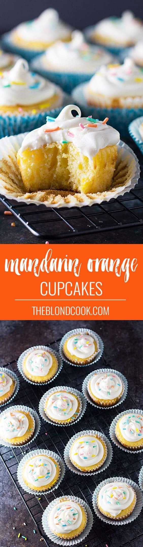 Easy Mandarin Orange Cupcakes | theblondcook.com