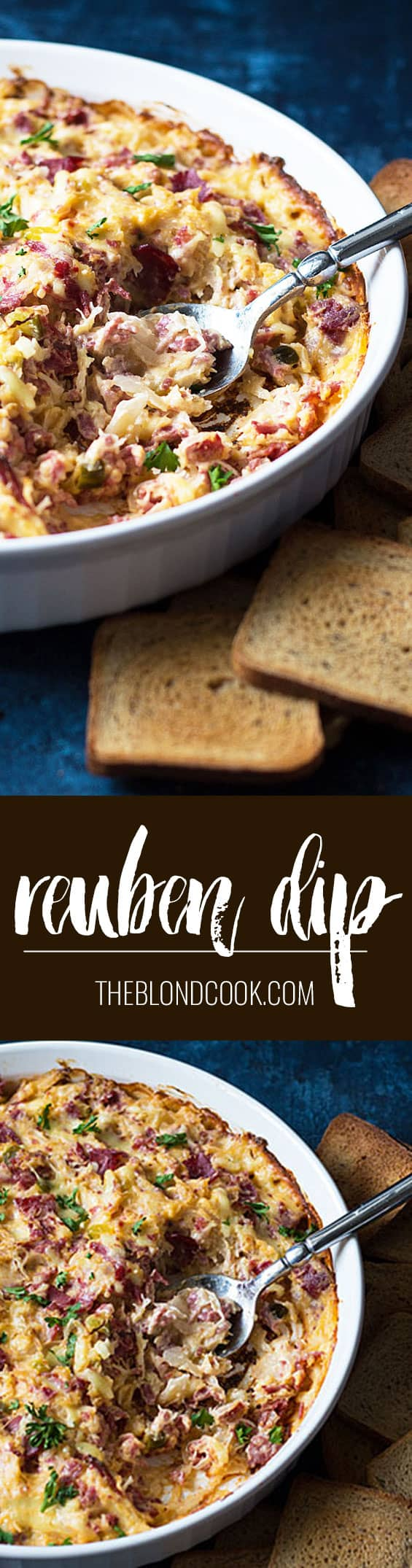 Reuben Dip - All of your favorite ingredients in a Reuben sandwich in a creamy and cheesy hot dip!