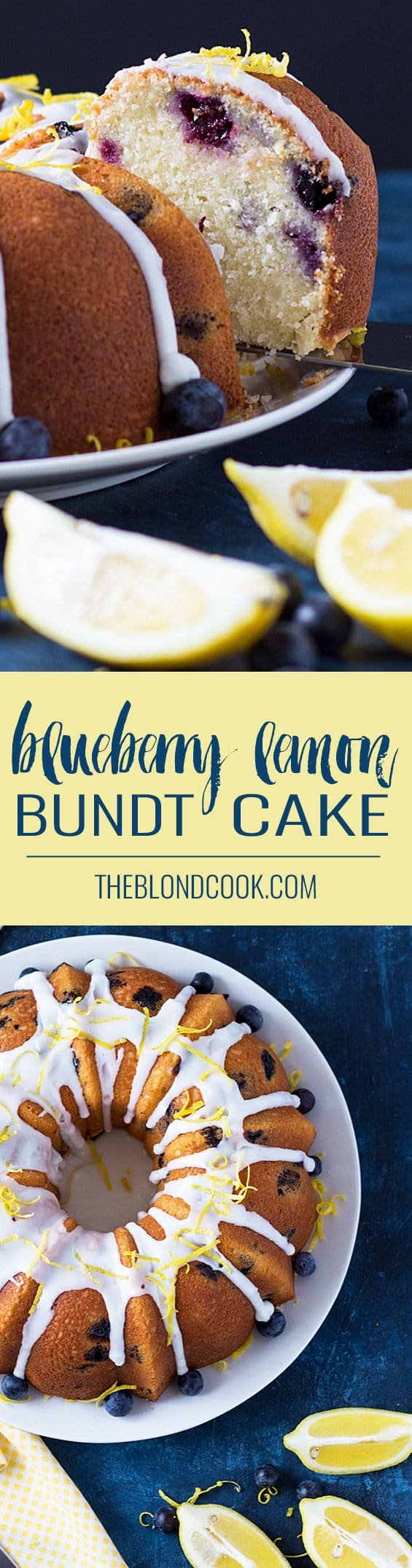 Blueberry Lemon Bundt Cake - A lemony, moist bundt cake full of fresh blueberries!