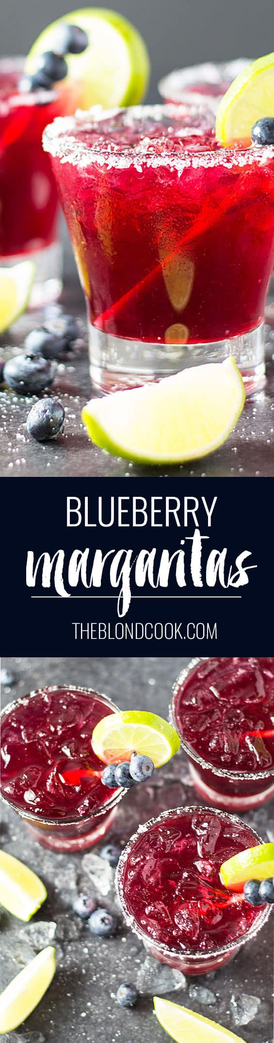 Blueberry Margaritas - Blueberry simple syrup, tequila, triple sec, margarita mix and lime juice create the ultimate blueberry margarita!