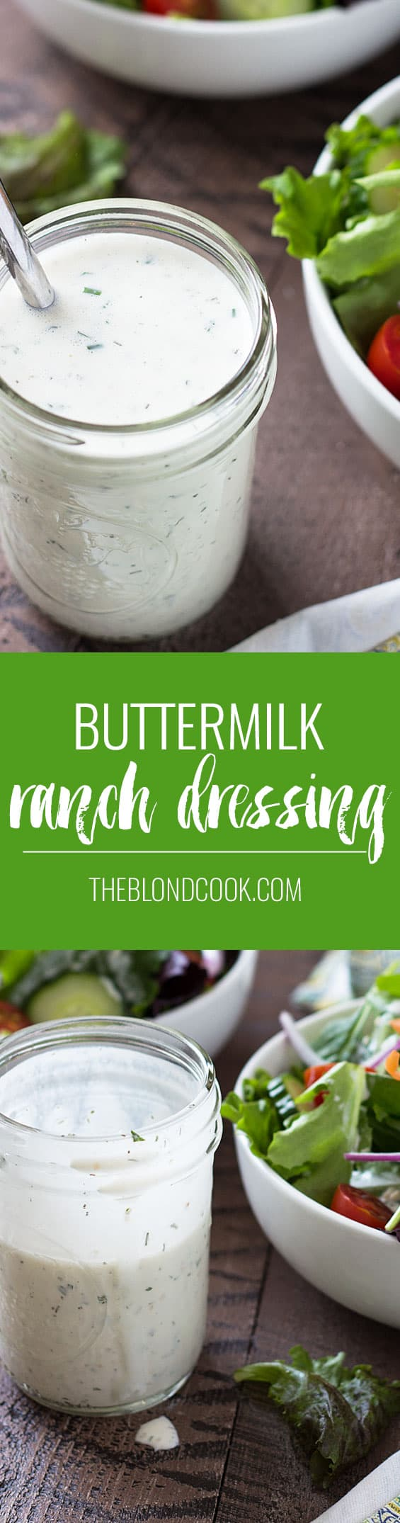 Homemade Buttermilk Ranch Dressing - With just a few ingredients, you can make the easiest and most flavorful ranch dressing!