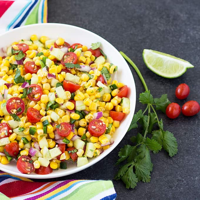 Grilled Corn & Tomato Salad With Basil Oil Recipe — Dishmaps