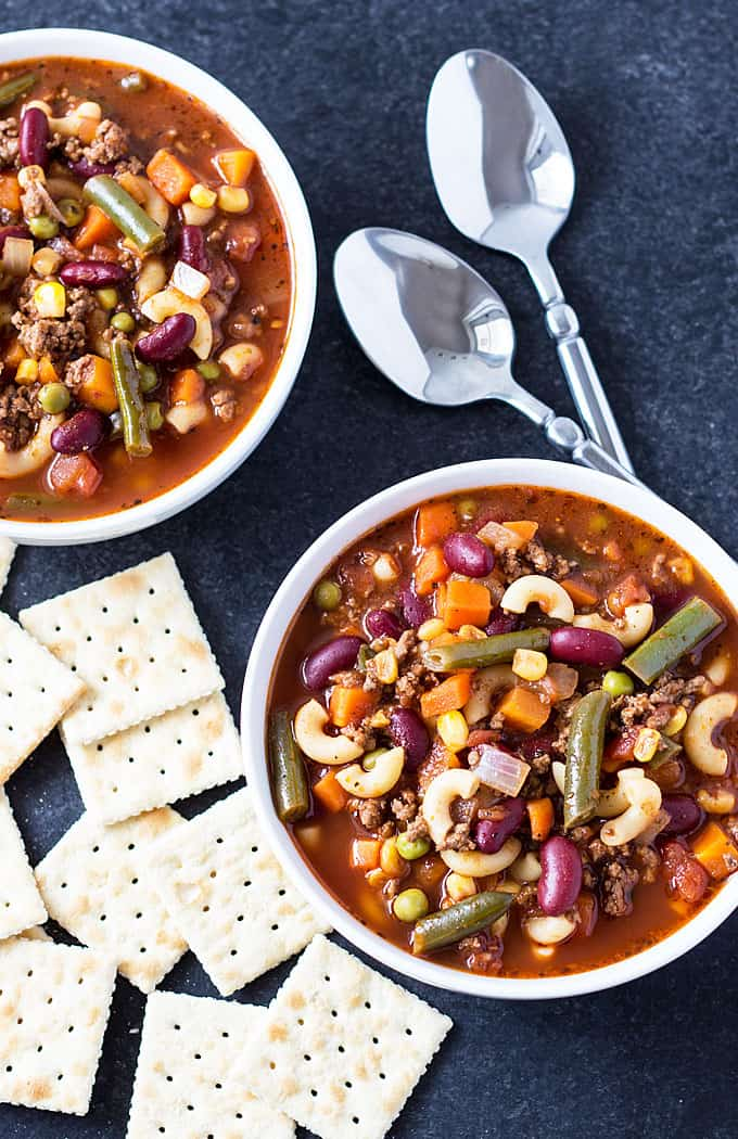 30-Minute Hamburger Minestrone Soup - Quick, easy, hearty and delicious! theblondcook.com