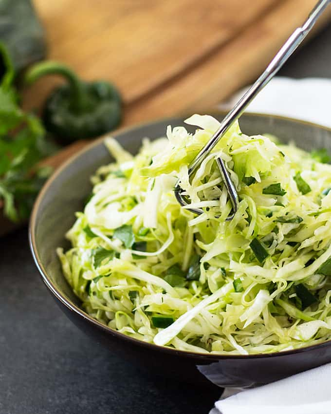 Cilantro Lime Poblano Slaw - A perfect side dish or topping for ...