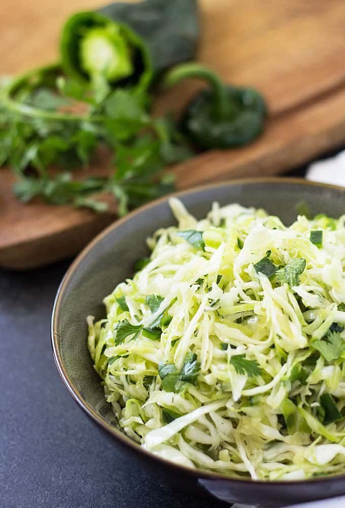 Cilantro Lime Poblano Slaw - A perfect side dish or topping for chicken or seafood!