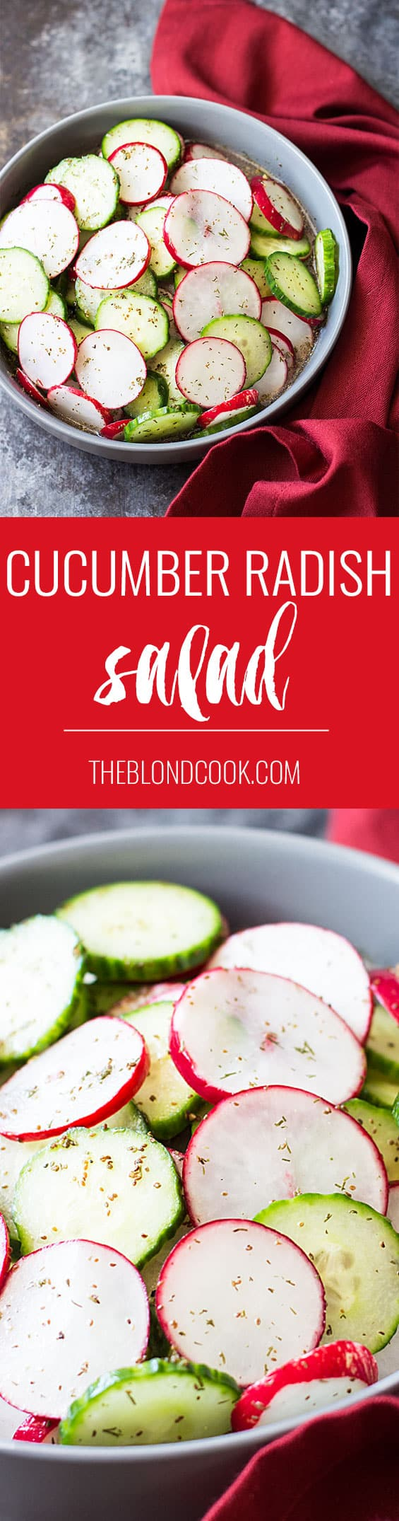 Cucumber Radish Salad with dill in a homemade vinaigrette | theblondcook.com