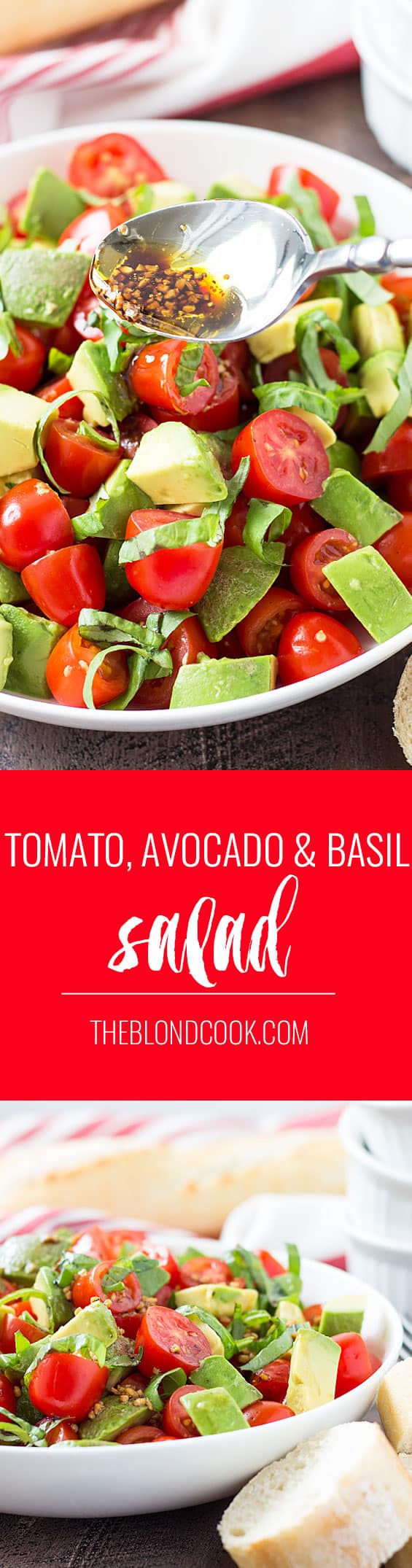 Tomato, Avocado and Basil Salad with a homemade balsamic vinaigrette ...