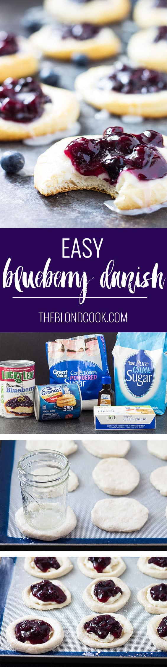 Quick and easy Blueberry Danish using canned biscuits | theblondcook.com