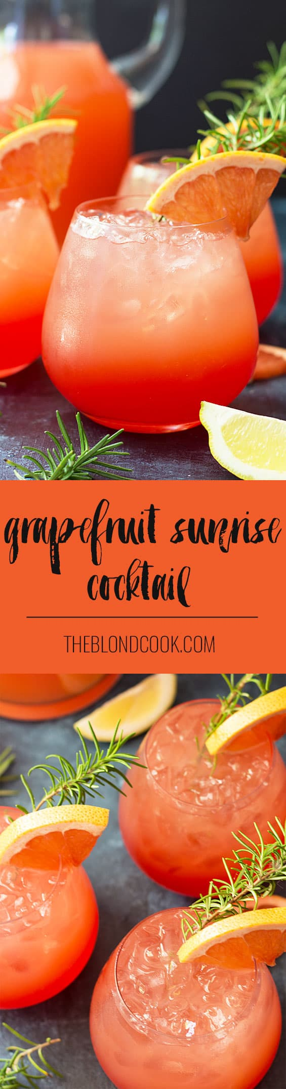 Grapefruit Sunrise Cocktail - Sweet , tart and so easy to make!