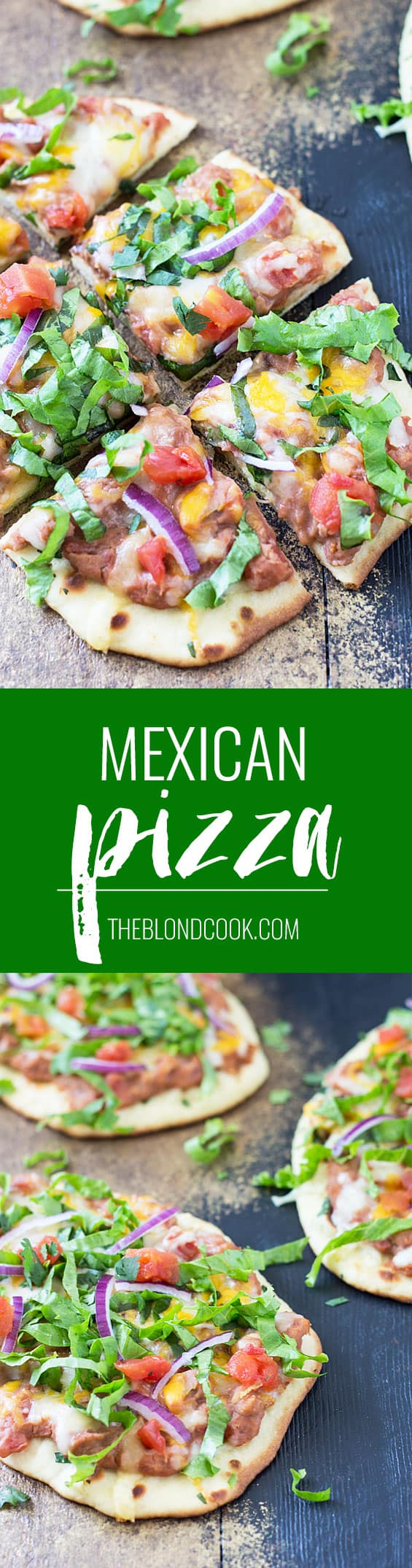 Mexican Pizza - This pizza with Ro*Tel and refried beans is SO EASY and delicious!