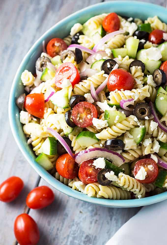 Greek pasta salad the blond cook for Easy salad ideas for bbq