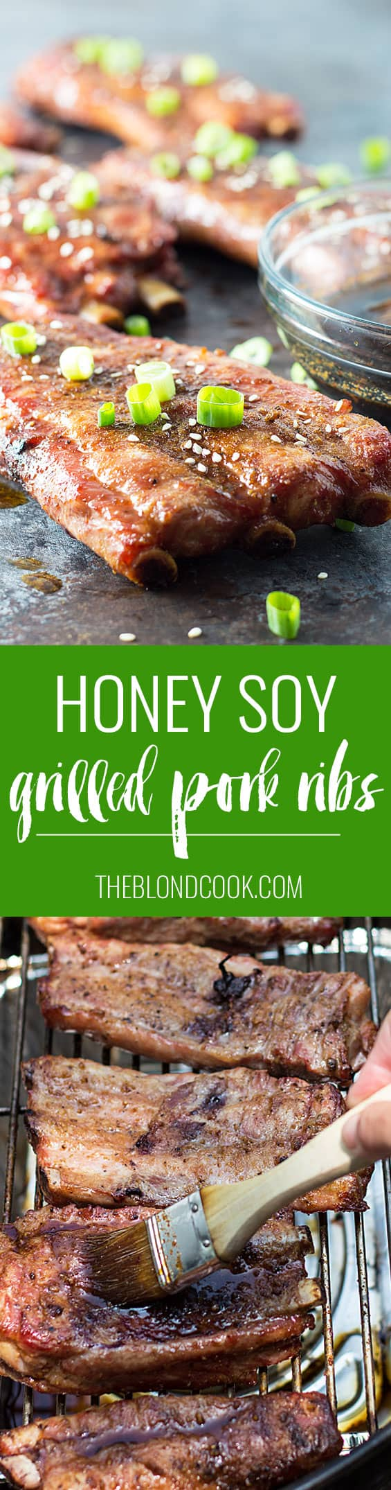 Honey Soy Grilled Pork Ribs | theblondcook.com
