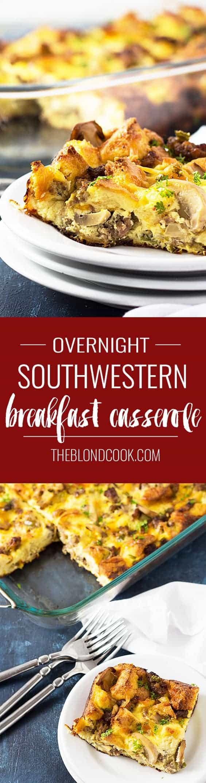 Overnight Southwestern Breakfast Casserole | theblondcook.com