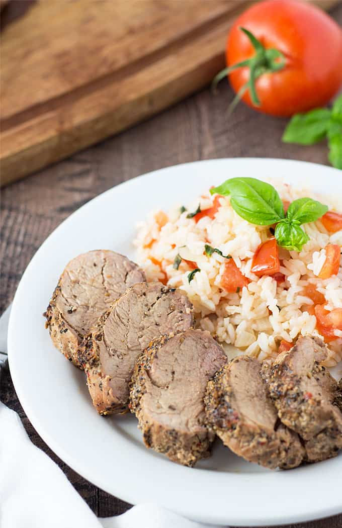 Grilled Pork Loin with Tomato Basil Rice - Comes together in less than 30 minutes!