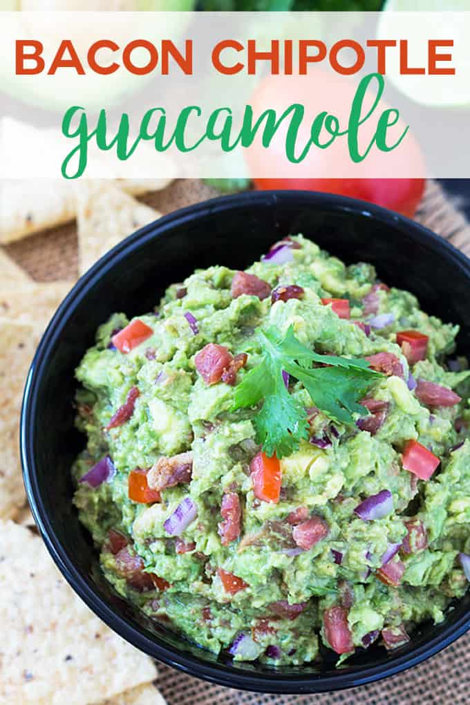 "Guacamole in a black bowl beside tortilla chips. Text at top reads, ""Bacon Chipotle Guacamole"""