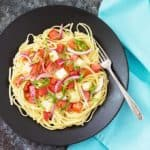 Marinated Tomato and Mozzarella Pasta