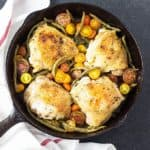 One Pan Roasted Chicken with Lemon Herb Green Beans and Tomatoes