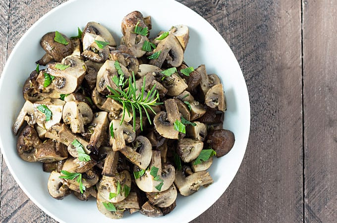 Roasted Rosemary Garlic Mushrooms - So savory and flavorful and comes together in 30 minutes total!