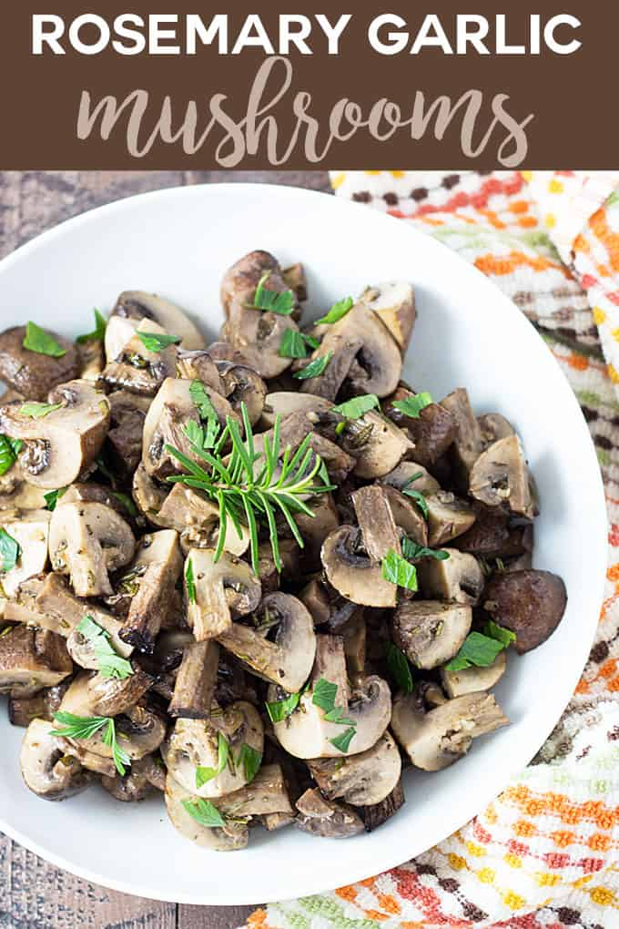 Roasted mushrooms in a white bowl by a patterned towel with overlay text.