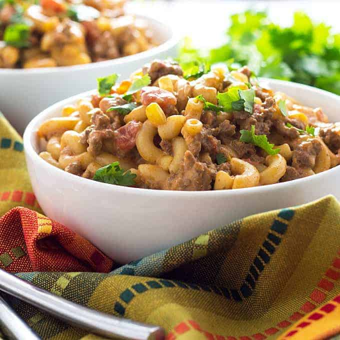 ONE POT Cheesy Taco Pasta - Everything cooks in one pot and in 30 minutes!