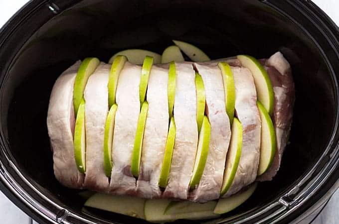Slow Cooker Apple Rosemary Pork Loin | theblondcook.com