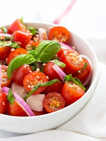 Tomato, Basil & Red Onion Salad with a homemade red wine vinaigrette