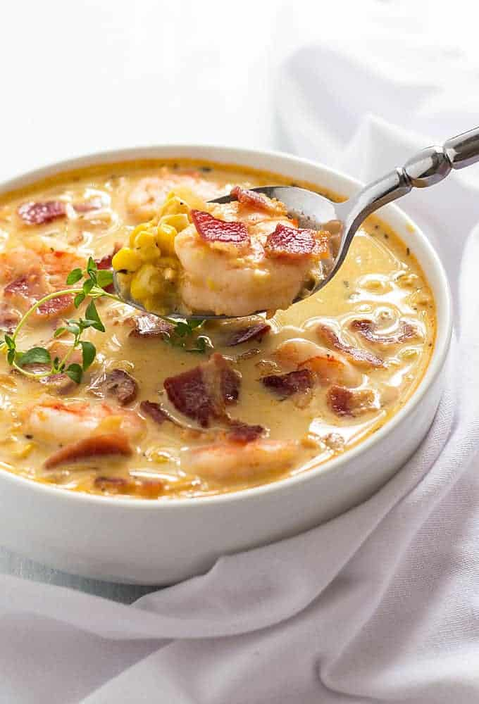 Bacon, Shrimp and Corn Chowder | The Blond Cook
