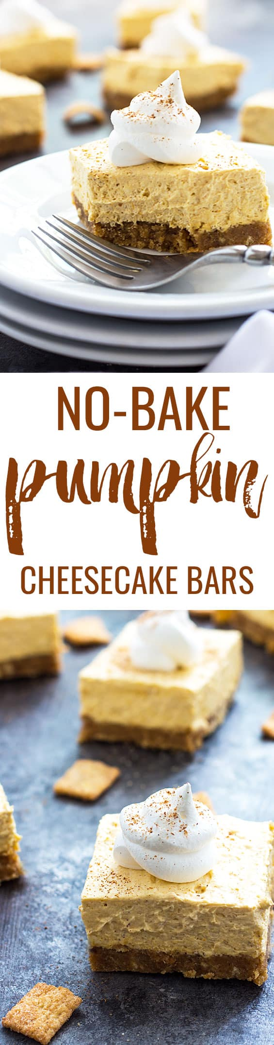 No-Bake Pumpkin Cheesecake Bars | theblondcook.com