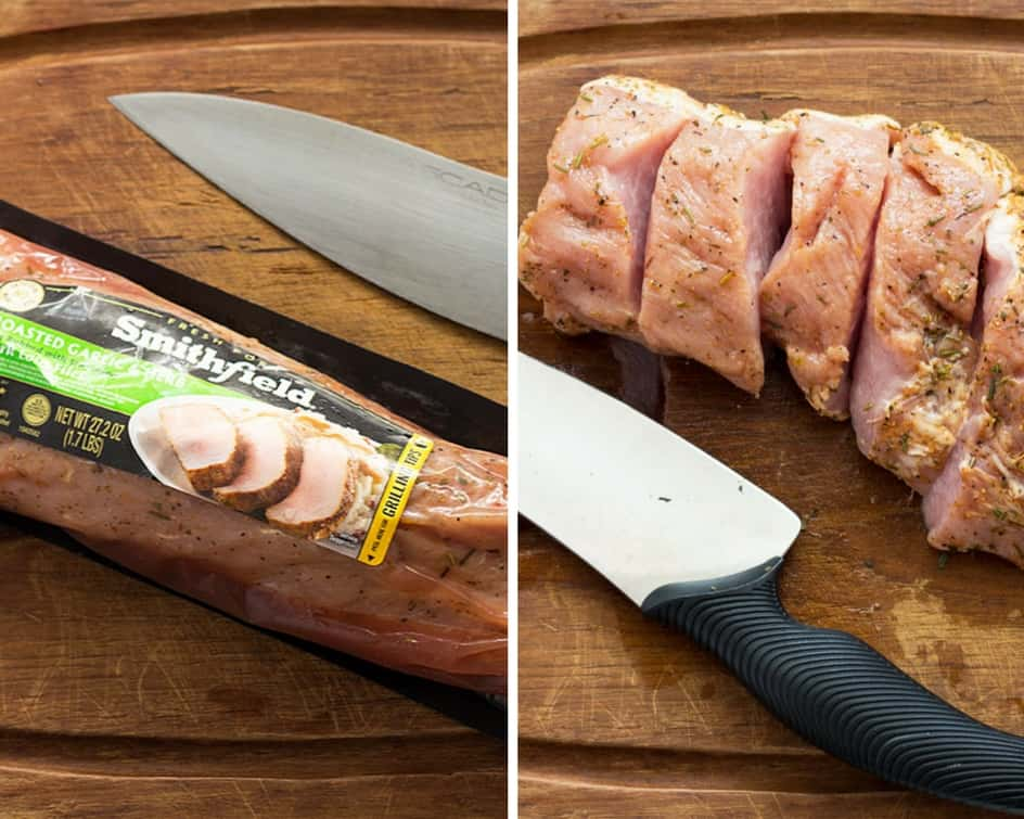 Two images - First is packaged marinated pork and second image is with the packaging removed and sliced.